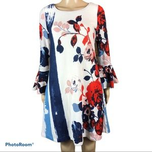 MAEVE  floral swing bell sleeve sweater dress